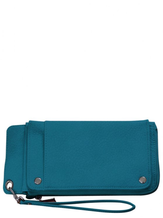 Faux Leather Wristlet Wallet - GREEN  Mobile