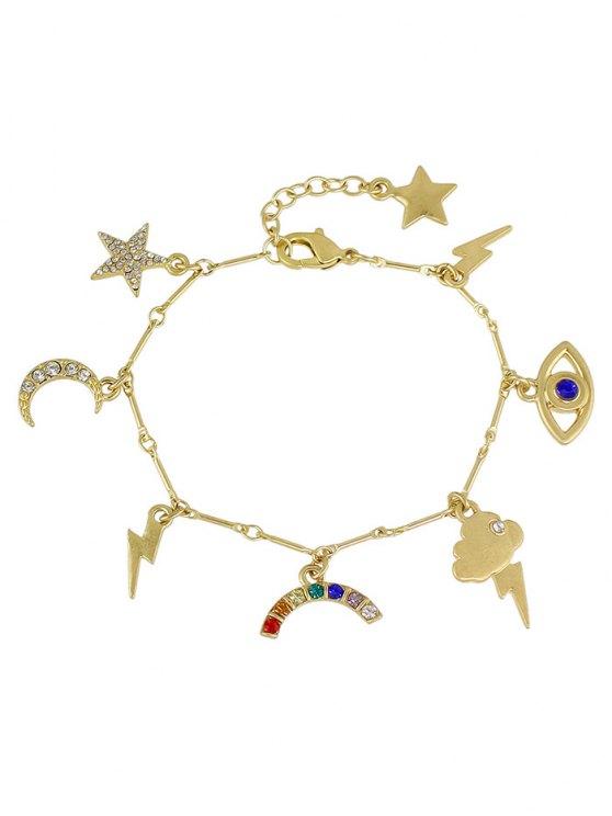 Rhinestone Star Moon Lightning Eye Bracelet -   Mobile