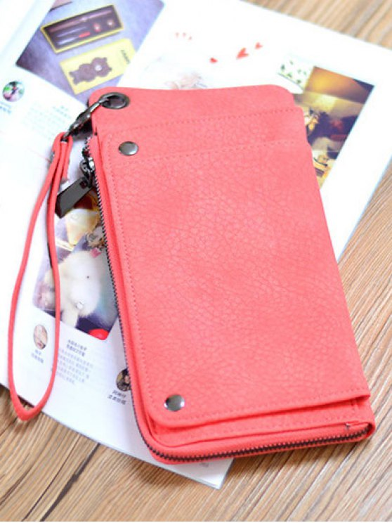 Faux Leather Wristlet Wallet - WATERMELON RED  Mobile
