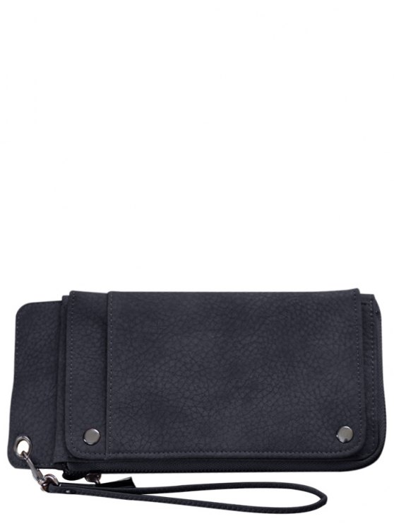 Faux Leather Wristlet Wallet - BLACK GREY  Mobile