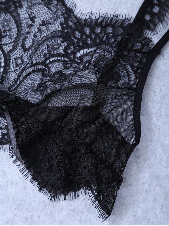 Unlined Lace Bra - BLACK L Mobile