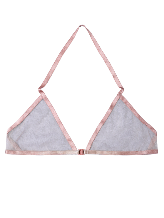 Front Closure Sheer Mesh Bra - SHALLOW PINK XL Mobile