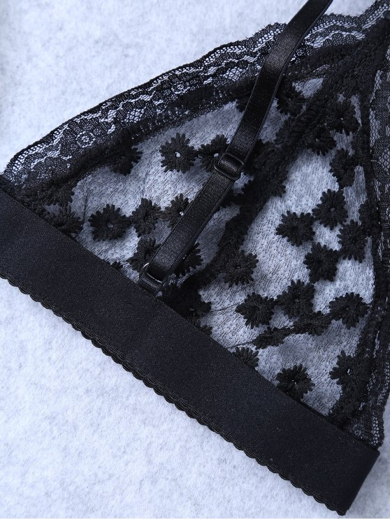 Embroidered Sheer Mesh Bra - BLACK M Mobile