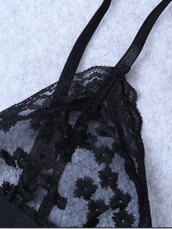 Embroidered Sheer Mesh Bra - BLACK S Mobile