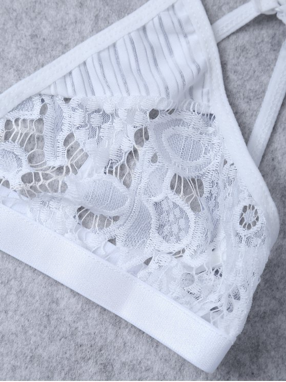 Sheer Lace Plunge Bra - WHITE M Mobile