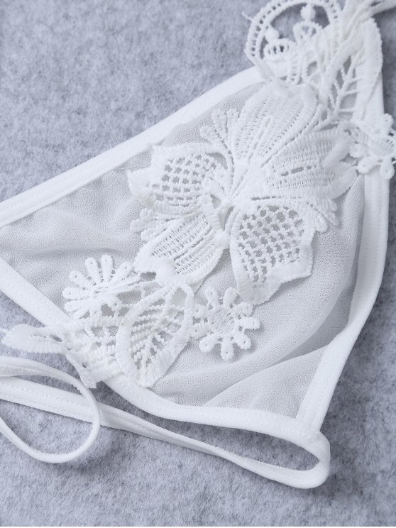 Floral Appliqued Sheer Mesh Bra - WHITE ONE SIZE Mobile