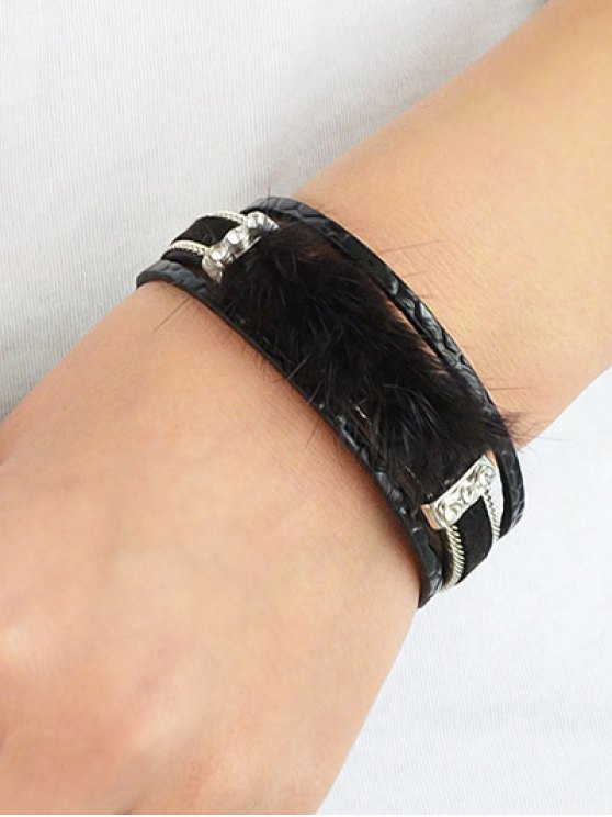Faux Leather Rhinestone Fuzzy Wrap Bracelet - BLACK  Mobile