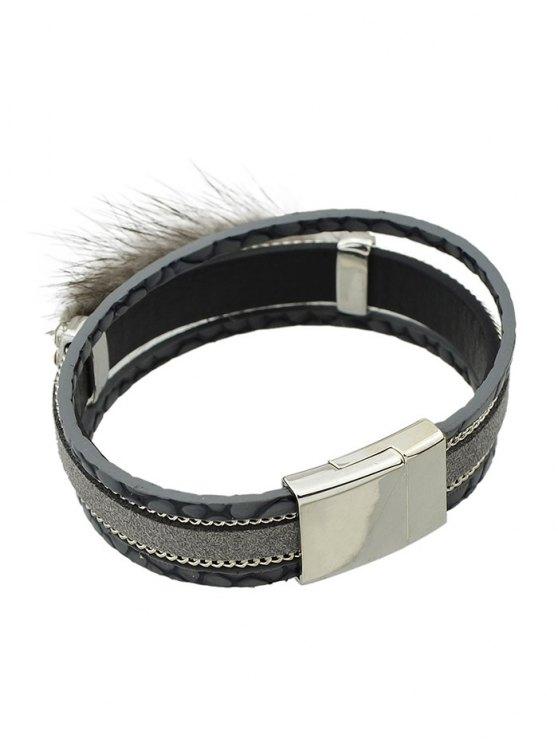Faux Leather Rhinestone Fuzzy Wrap Bracelet -   Mobile