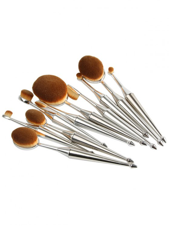 Mermaid Shape Makeup Brushes Set - SILVER  Mobile