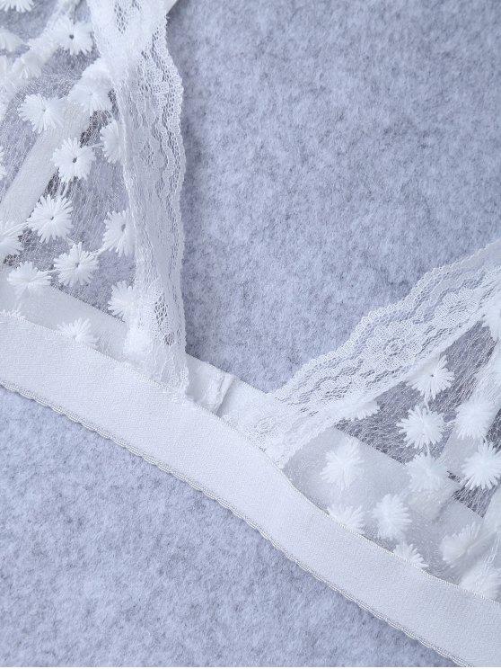 Embroidered Sheer Mesh Bra - WHITE S Mobile