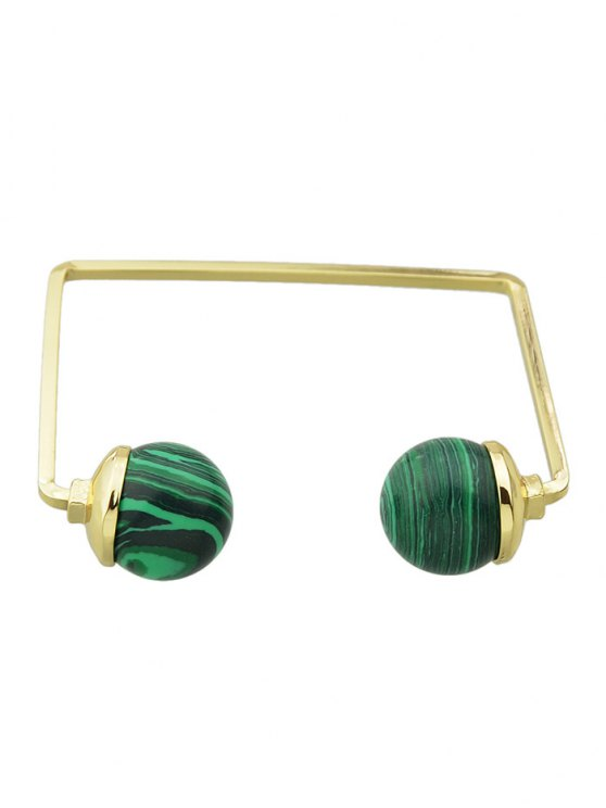 Artificial Gem Ball Cuff Bracelet - GREEN  Mobile