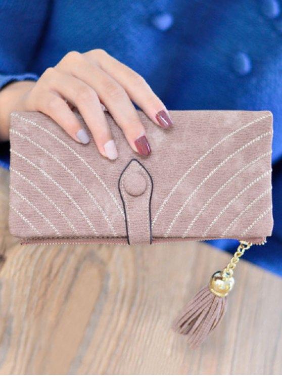 Stitching Tassel Clutch Wallet - PINK  Mobile