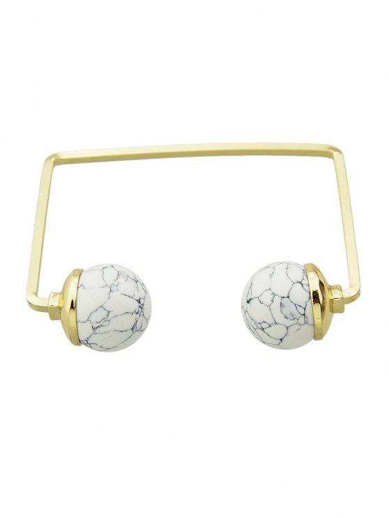 Artificial Gem Ball Cuff Bracelet -   Mobile