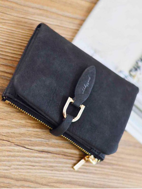 PU Leather Bi Fold Small Wallet - BLACK  Mobile