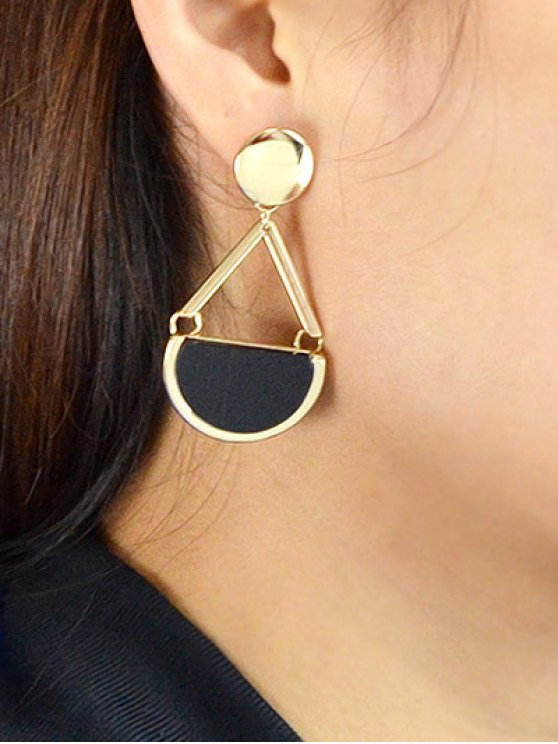 Vintage Geometric Circle Drop Earrings - GOLDEN  Mobile