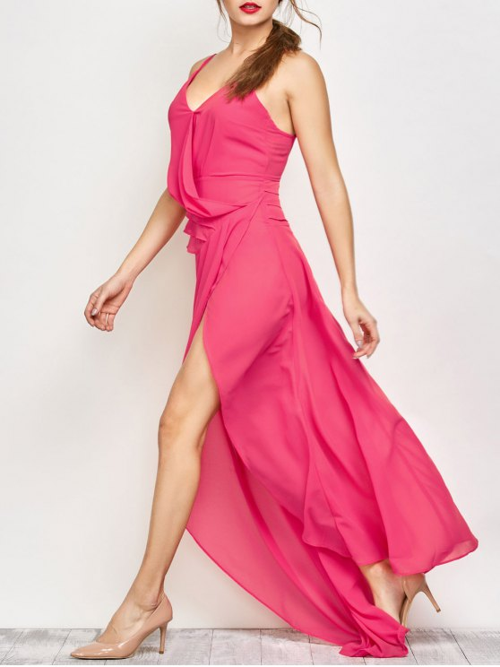 High Slit Asymmetric Prom Dress - SANGRIA 2XL Mobile