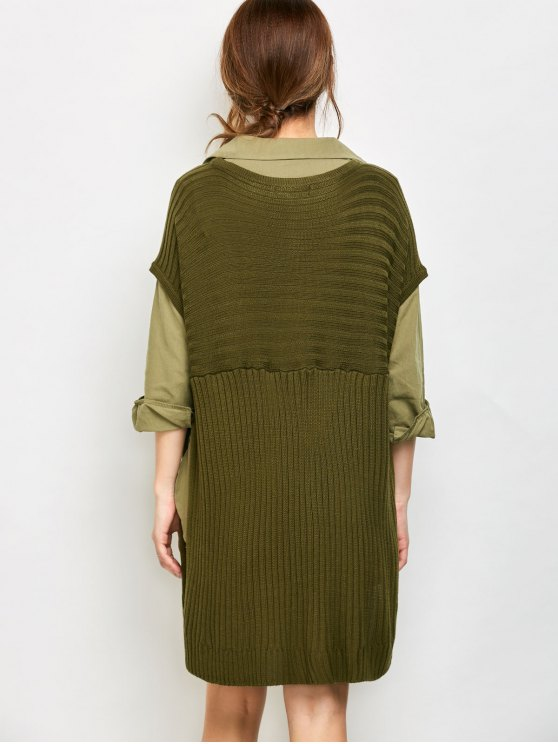 Side Slit Oversized Sweater With Pockets - ARMY GREEN M Mobile