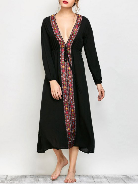 Low Cut Belted Printed Vintage Dress - BLACK M Mobile