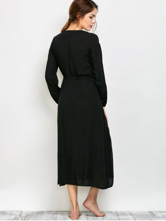 Low Cut Belted Printed Vintage Dress - BLACK S Mobile