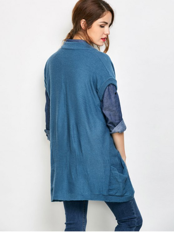 Short Sleeve Knitted Cardigan with Pockets - BLUE S Mobile