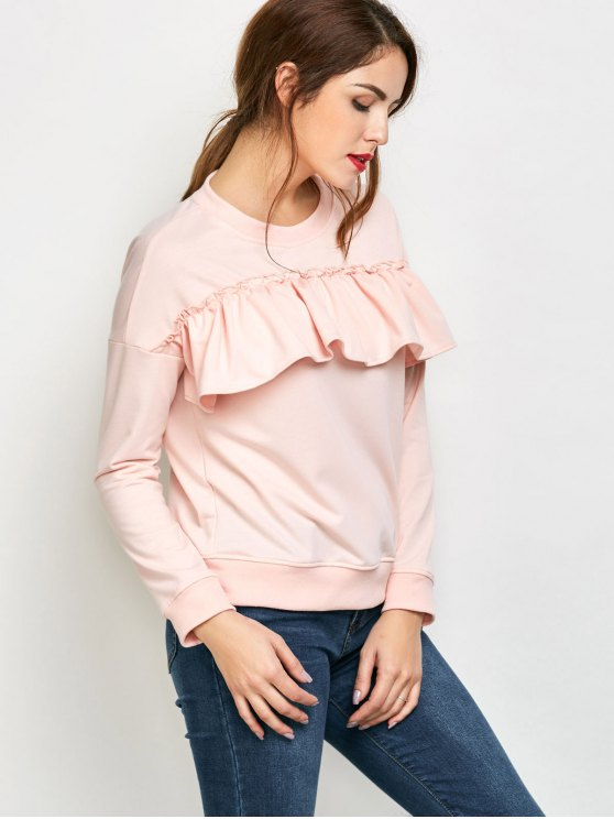 Ruffles Jewel Neck Sweatshirt - PINK S Mobile