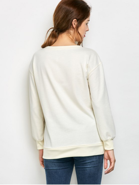 Graphic Skew Neck Oversized Sweatshirt - OFF-WHITE M Mobile