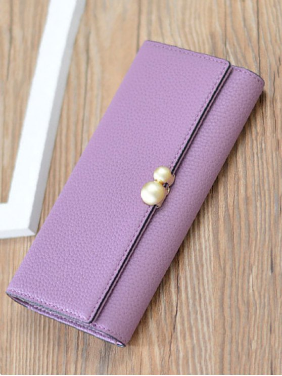 Textured Tri Fold Clutch Wallet - PURPLE  Mobile