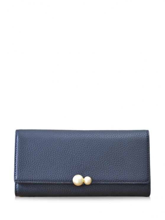 Textured Tri Fold Clutch Wallet - BLACK  Mobile