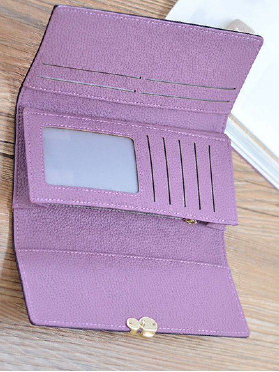 Textured Tri Fold Clutch Wallet - LIGHT PURPLE  Mobile