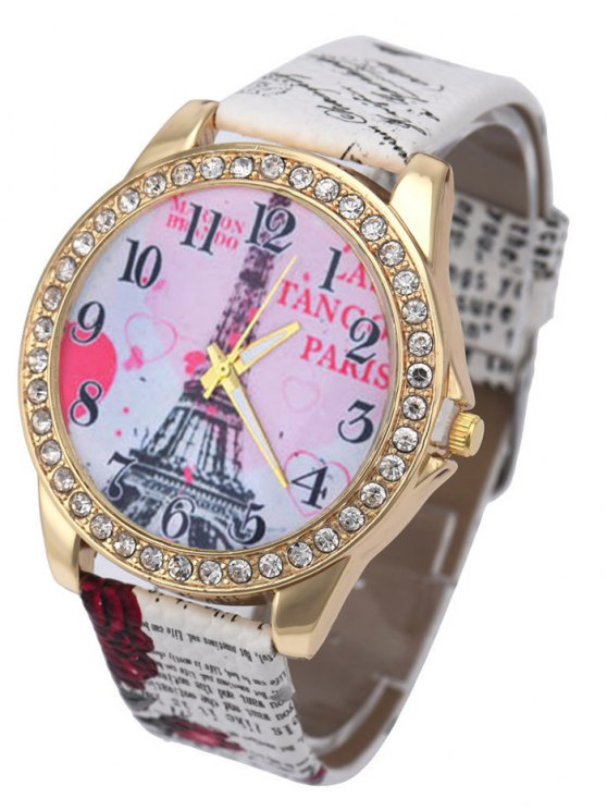 Faux Leather Band Eiffel Tower Quartz Watch - WHITE  Mobile