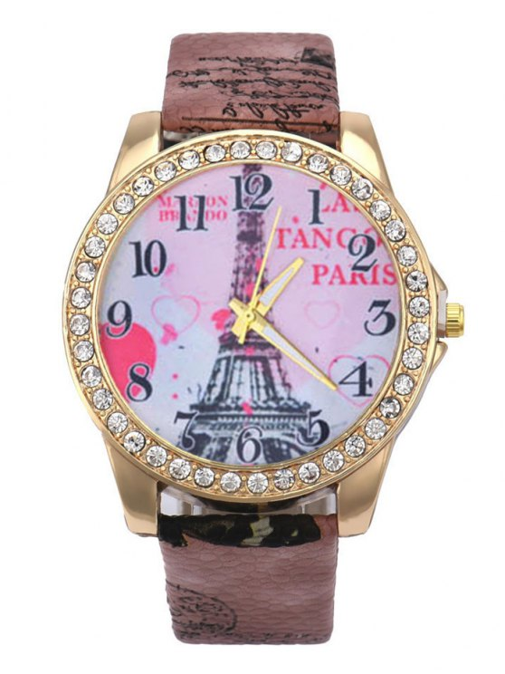 Faux Leather Band Eiffel Tower Quartz Watch - BROWN  Mobile