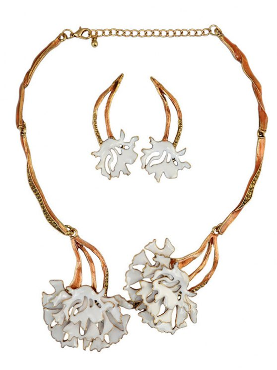 Rhinestone Flower Vintage Necklace and Earrings - WHITE  Mobile