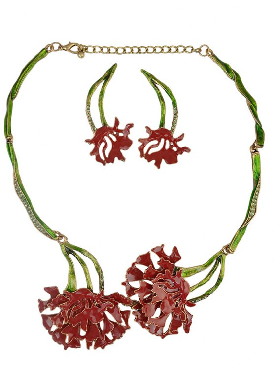 Rhinestone Flower Vintage Necklace and Earrings - RED  Mobile