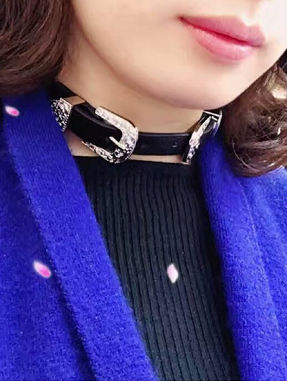 Faux Leather Belt Shape Choker Necklace - SILVER  Mobile