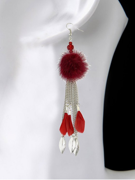 Feather Fuzzy Ball Drop Earrings -   Mobile
