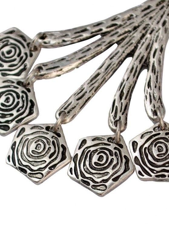 Vintage Floral Geometric Drop Earrings - SILVER  Mobile