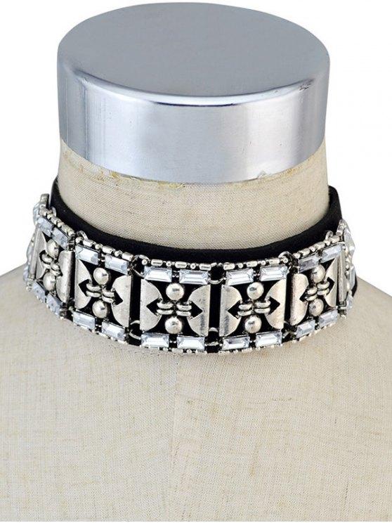 Faux Leather Rhinestone Vintage Choker Necklace - BLACK  Mobile