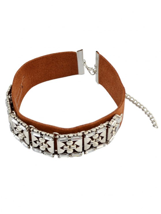 Faux Leather Rhinestone Vintage Choker Necklace - BROWN  Mobile