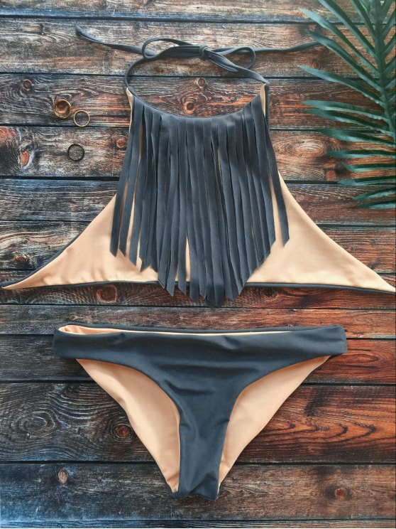 High Neck Double Side Fringed Bikini - GRAY S Mobile