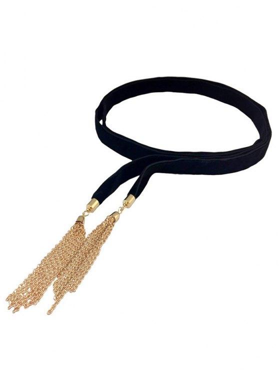 Chain Tassel Velvet Choker -   Mobile