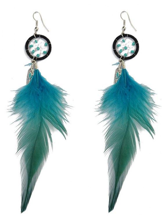 Feather Adorn Bohemian Drop Earrings - BLUE  Mobile
