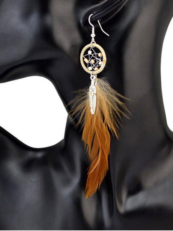 Feather Adorn Bohemian Drop Earrings -   Mobile