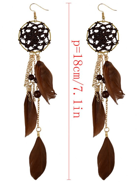 Beads Feather Bohemian Drop Earrings - BROWN  Mobile