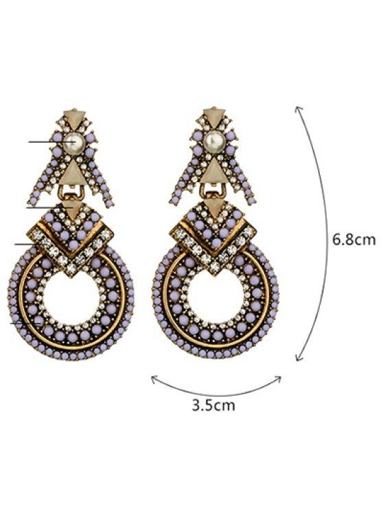 Faux Pearl Rhinestone Beaded Geometric Earrings - PURPLE  Mobile