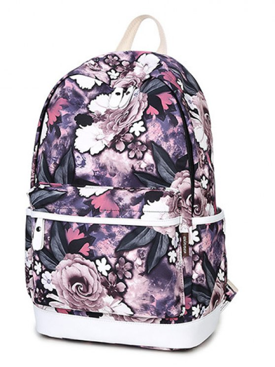 Floral Painted Backpack Set - PURPLE  Mobile