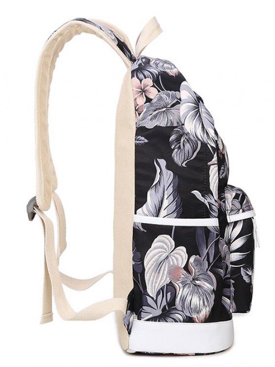 3 Pcs Flower Printed Backpack Set - BLACK  Mobile