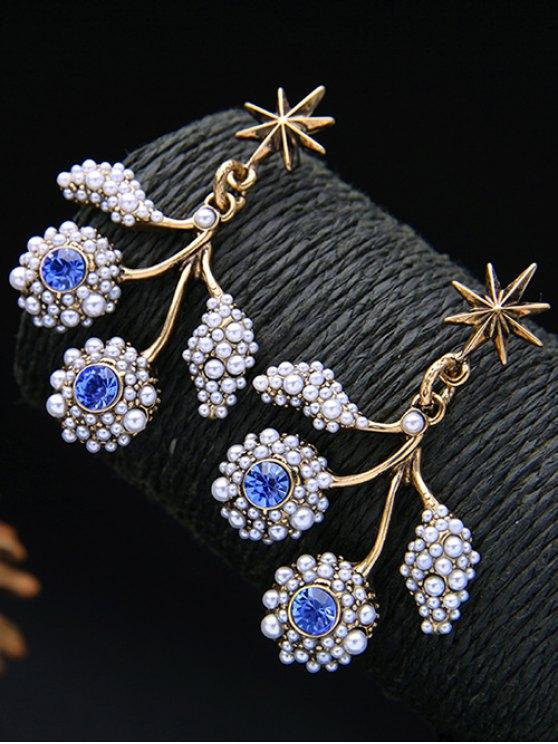 Faux Pearl Rhinestone Hexagram Drop Earrings - BLUE  Mobile