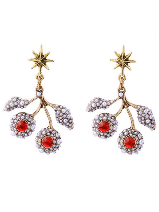 Faux Pearl Rhinestone Hexagram Drop Earrings - RED  Mobile