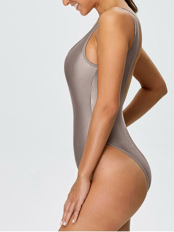 High Cut Backless Swimsuit - KHAKI XS Mobile