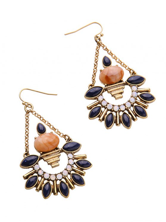 Artificial Gemstone Fan Shaped Drop Earrings -   Mobile